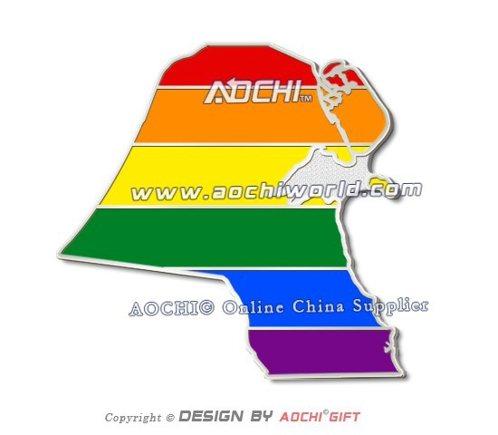 Free Shipping Newest Best Selling High Quality Kuwait Map Rainbow Gay LGBT Flag Lapel Pins(China (Mainland))