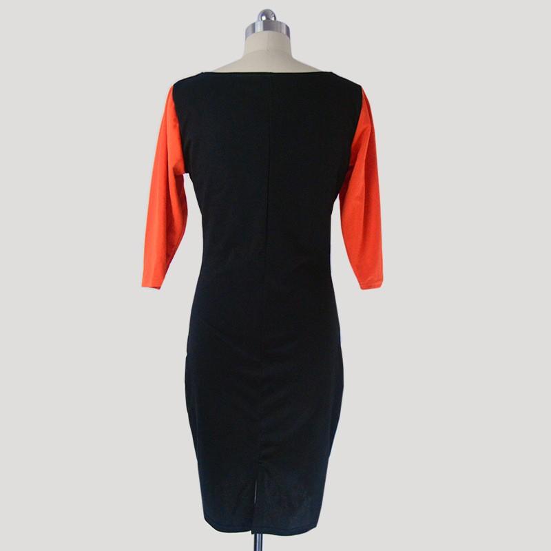 2016 women autumn winter dress O-neck Elegant party dresses vestidos Pretty Lady Black Lace Overlay Evening Midi Dresses LC6287