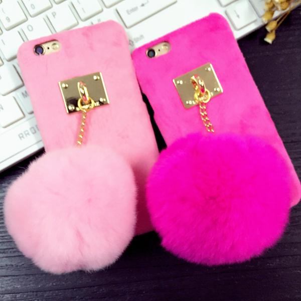 Rabbit fur ball metal chain 6s phone case for iphone 6 6s 6s plus hair bulb 4.7 protective case cartoon case E402(China (Mainland))