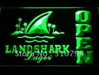 082-g Landshark Lager Beer OPEN Bar LED Neon Light Sign