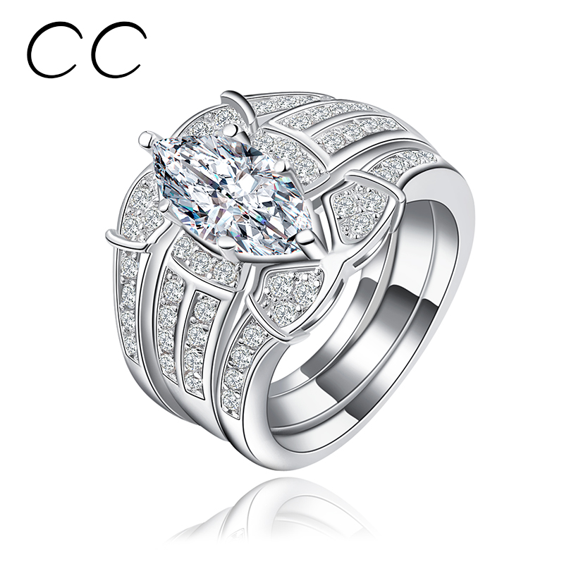 Engagement Rings For Women Water Drop Zircon Punk CZ Diamond Ring White Gold Plated Big Stone Ring Vintage Anillos Bague Femme(China (Mainland))