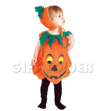 New Halloween Pumpkin Costume Body Suit+Hat Children Stage Performance Costume Baby Boy Girl Party Clothing(China (Mainland))