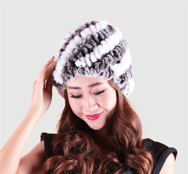 Multi-Colors Handmade Beanies Natural Women Genuine Knitted Rex Rabbit Fur Hats Female Warm Caps Winter Warm fur hat RH-001(China (Mainland))