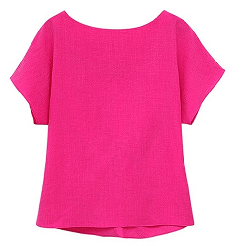 Women's Oversized Short Sleeve Crewneck Tie Front Bow Chiffon Blouse Tops