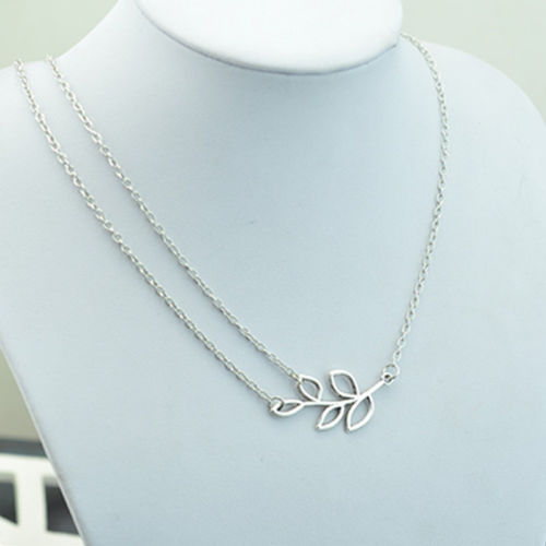 Charm Women Lady's Double Chain Leaves pendant Charm Silver Plated Necklace(China (Mainland))