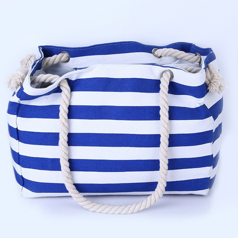Special big Stripe shoulder handbags shopping bag beach handbag new fashion canvas bag wild rough twine striped beach bag(China (Mainland))