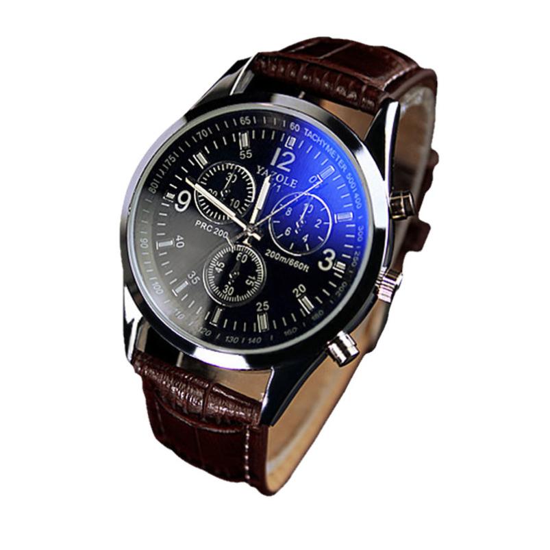 Splendid Luxury Fashion Faux Leather Men Blue Ray Glass Quartz Analog Watches Casua Cool Watch Sinobi