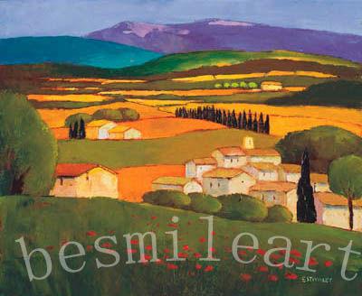 100%Handmade Oil Painting reproduction on canvas , Village au Printemps by Elisabeth Estivalet(China (Mainland))