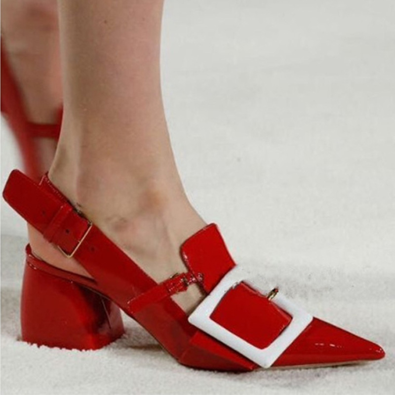 2016 Shoes Women Spring New Style Pointed Toe High Heels Fashion Red Patent Leather Slingback Shoes Woman Blue Wedding Shoe(China (Mainland))
