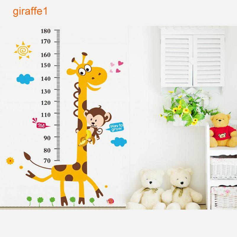 animaux hauteur rgle de enfants wall sticker pour les enfants salle dcoration de la maison salle de bains girafe singe enfants - Hauteur Vanite Salle De Bain