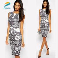 2015 Celeb Flower Vintage Print Elegant Shift Pencil Dress Vestidos Femininos Formal Tunic Sleeveless Summer Dress HW0262