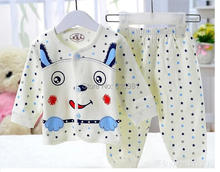70%OFF 2014 hot selling Pajama Sets Kids Clothes girls Pure cotton cartoon Collar underwear underwear t shirt pants winter chil(China (Mainland))