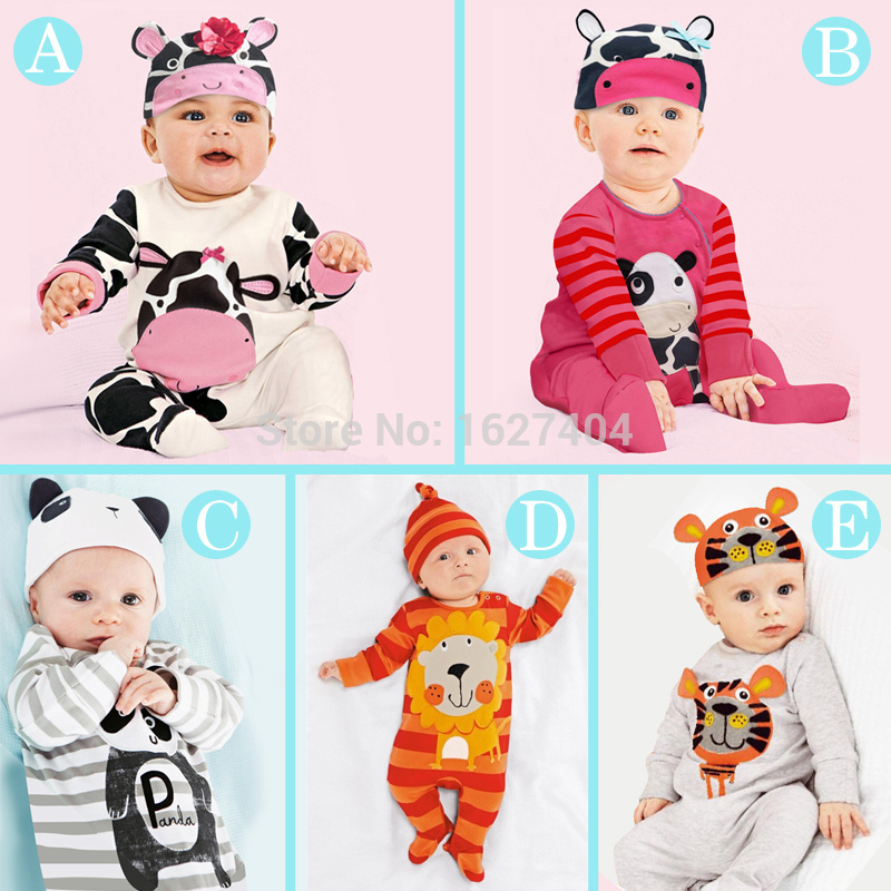 (animal baby boy clothes) baby clothes romper cow/ panda/lion/ tiger long-sleeved romper with cute hat(China (Mainland))
