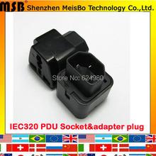 Universal negro de cobre abs 250 v 10a AC eléctrica standart PDU IEC 320 C14 adaptador de plug power