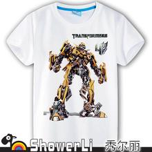 Cotton breve manicotto dei bambini magliette, simpatico cartone animato, gioco delle ragazze dei ragazzi a capire capretti porta 2015 primavera estate nuovo Robot Optimus Prime(China (Mainland))