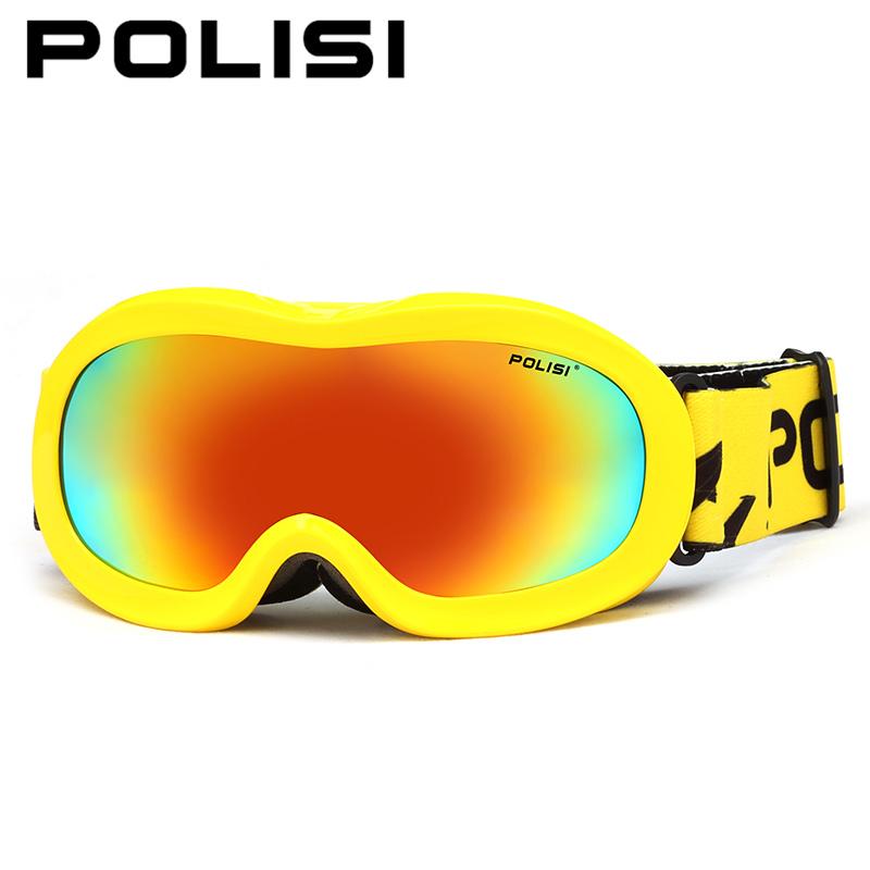 POLISI Children Kids Winter Ski Goggles Boys Girls Anti-Fog Skiing Eyewear Polarized Snowmobile Snowboard Snow Skate Glasses