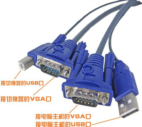 50pcs / lots USB KVM Switch Cable 2-in-1 15-Pin Standard VGA SVGA USB 2.0 PC Monitor Printer Cable ,Free shipping By Fedex(China (Mainland))