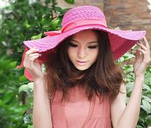 100pcs/lot summer women UV protection straw sun hat with bowknot Wide brim hat(China (Mainland))