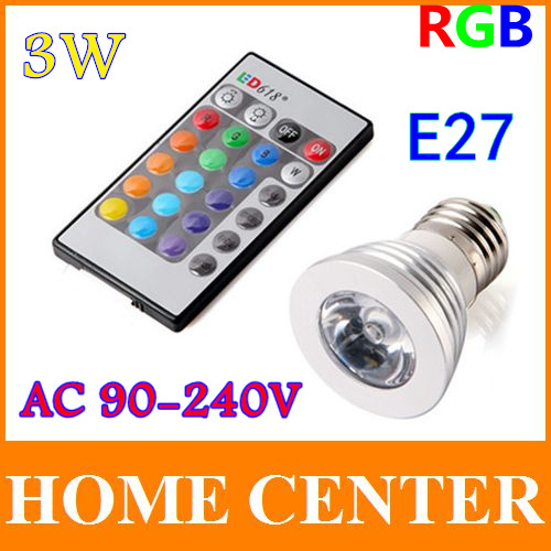 AC90~240V 3W E27 RGB LED Bulb Lamp 16 Color changing led Spot light with Remote Control free shipping with tracking number(China (Mainland))