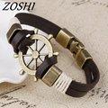 ZOSHI Wholesale Cuff braided Wrap Bracelet Bangles Men Jewelry Pirate Genuine Leather Anchor Bracelets Vintage Men