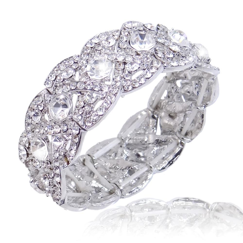 Bella Fashion Silver Plated Spring Bridal Braclet Bangle Clear Austrian Crystal Bracelet For Wedding Bridesmaid Jewelry