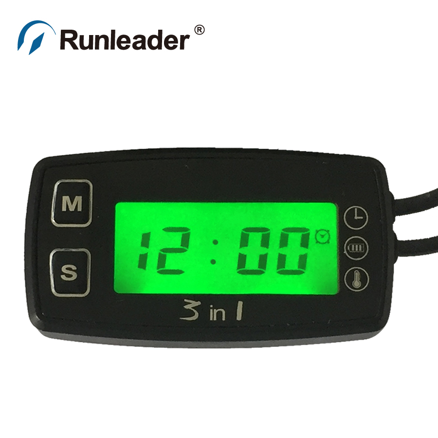 Digital LCD NTC temp sensor meter thermometer voltmeter for tractor ATV marine Tiller motorcycle Paramotor lawn mower oil water<br><br>Aliexpress