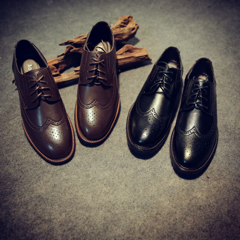 US 6-10 Casual Genuine Leather Mens Lace Wing Tips Oxford Fashion Sneakers Brogue Shoes