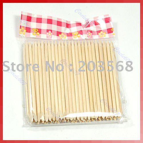 100X Nail Art Orange Wood Stick Cuticle Pusher Remover
