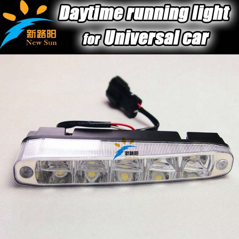 Universal 5 LED Daytime Running Light DRL Daylight Kit Fog Lamp Day Driving Lights with Relay Harness Kit Super 12V Bright(China (Mainland))
