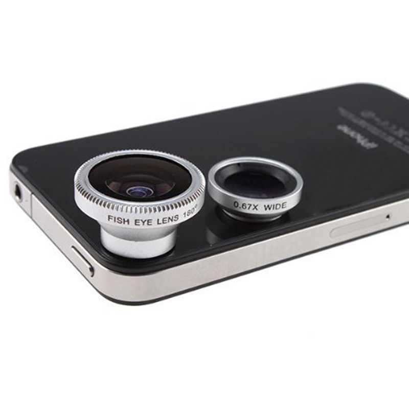 Detachable 3 in 1 Camera Lens Kit (180 Degree Fish Eye Lens+Wide Angle+Macro Lens) for iphone 4 for ipod for ipad