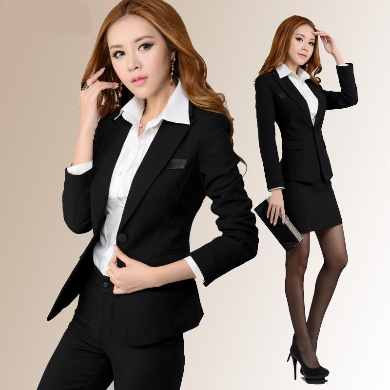 Brand New 2015 Slim Fit Women OL Suit Blazer Set Shirt Suit Pant And Skirt Set Uniform Professional Clothing Plus Size(China (Mainland))