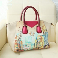 New Arrival women's handbag with doodle printing , big capacity designer leather bags for women, ladies party purse, tote