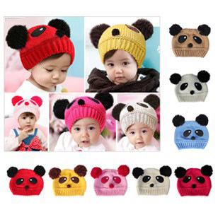 Fashion Cute Baby Kids Girls Boys Stretchy Warm Winter Panda Cap Hat Beanie(China (Mainland))