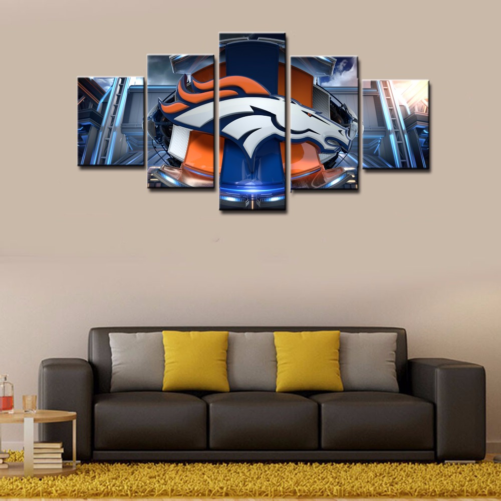 Hot Sel 5 Piece Canvas Wall Art Denver Broncos Cuadros Home Decor For