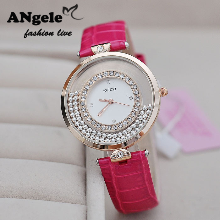 Hot Sale New KEZZI Brand Ladies Dress Watch Casual Fashion Flowing Bead Inlaid Crystal Dial Waterproof PU Strap Quartz Watches <br><br>Aliexpress