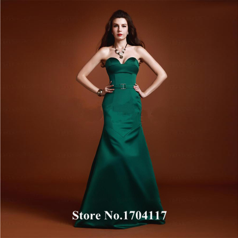 Robe de Soiree Custom Made Dark Green Satin Mermaid ...