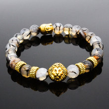 Men/Women Unisex Golden Lion&Buddha Beads Lava Natural Stone Buddhism Bracelet AB057(China (Mainland))