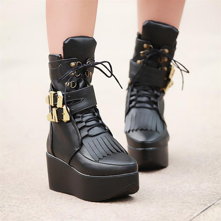 Tassel metal buckle wedges platform pointed toe strap motorcycle high-top shoes boots martin - Classic Women's store