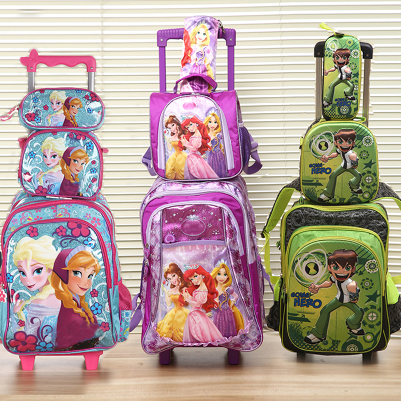 new good quality princes cars children trolly school bag set trolley luggage backpack some 3pc one set for boys and girls(China (Mainland))