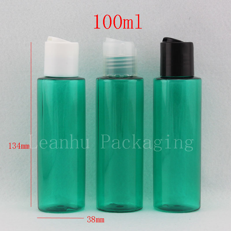 50pcs/lot 100ml green shampoo lotion plastic bottles, empty liquid soap travel bottles with disc top cap, cosmetic packaging(China (Mainland))