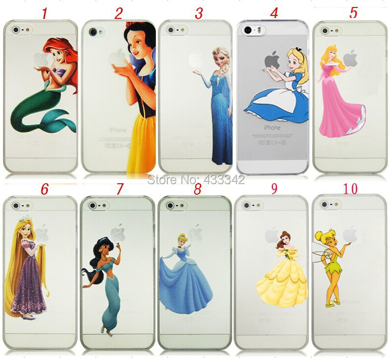 iPhone 4 4S 5 5S Snow White Mermaid Ariel Elsa Alice Jasmine Cinderella Tinker Bell Clear Plastic Case - N-Game LIMITED store
