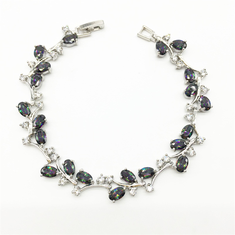 2016 New Style Tree Leaf Sterling Silver Chain Bracelet Women Rainbow Mystic Topaz White Zircon Jewelry 7.5INCH Free shipping(China (Mainland))