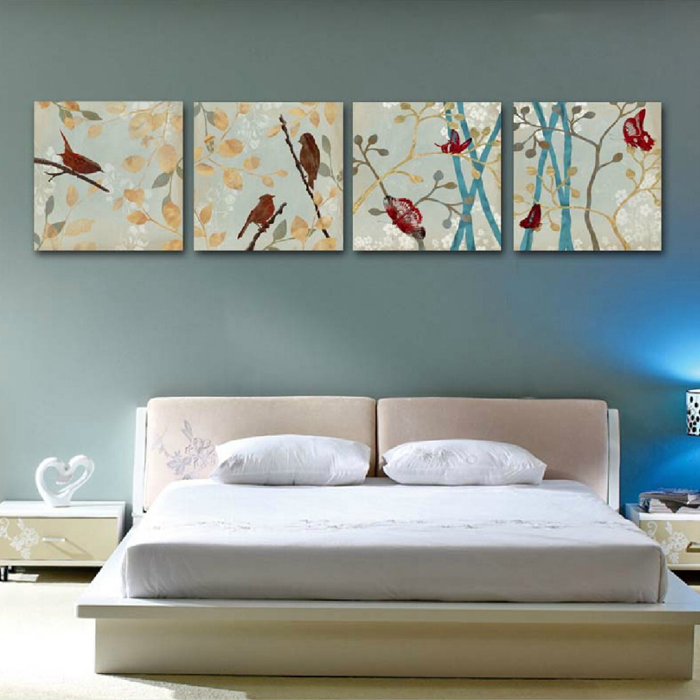 free shipping canvas painting 4panels the awaken of spring