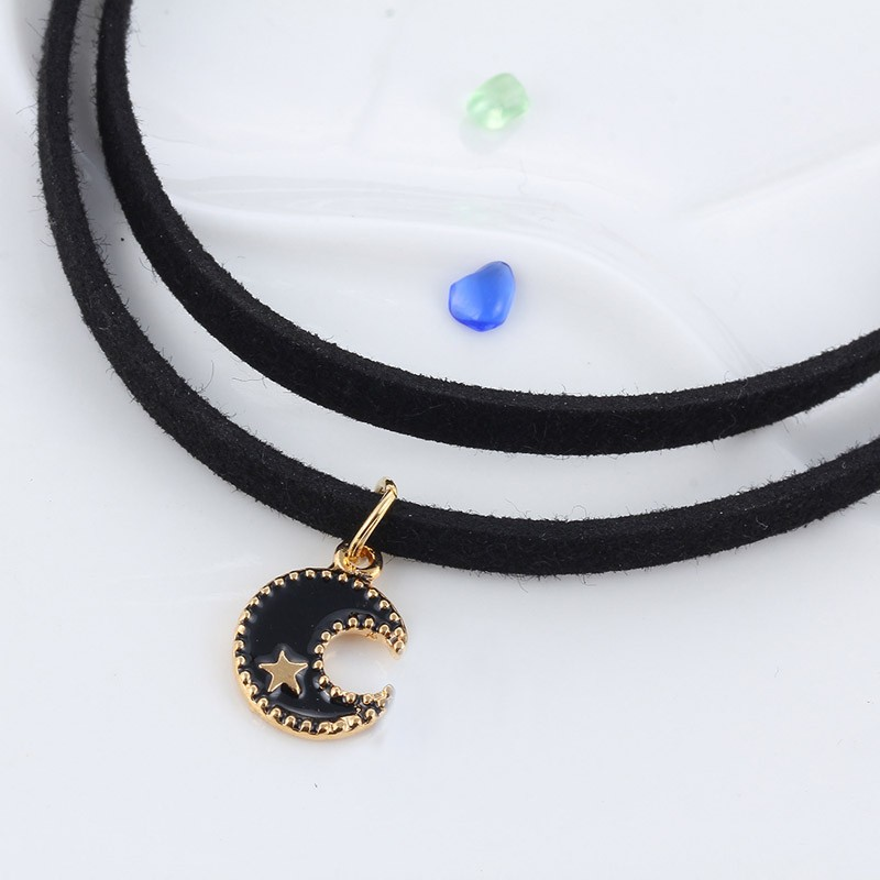 Newest fashion jewelry accessories gold plated moon  leather chain link necklace for couple lovers'  N103