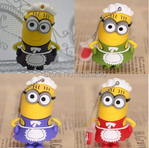 New 2015 lovely cook minions usb flash drive pen drive 64GB 32GB 16GB 8GB 4GB Despicable Me 2 Flash Memory Stick drive u disk(China (Mainland))