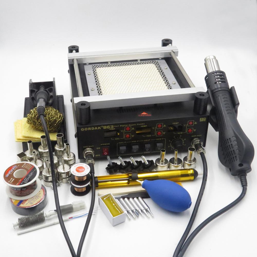Gordak 863 3 in 1 Digita Hot Air Heat Gun BGA Rework Solder Station + Electric Soldering iron + IR Infrared Preheating Station(China (Mainland))