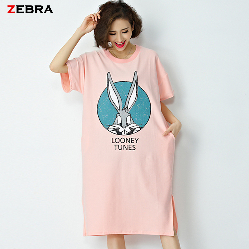 2016 New Summer Style Women Dresses Spring Cotton Cartoon Print Casual Costume Loose O-Neck Short Sleeve Long Fashion Dress(China (Mainland))