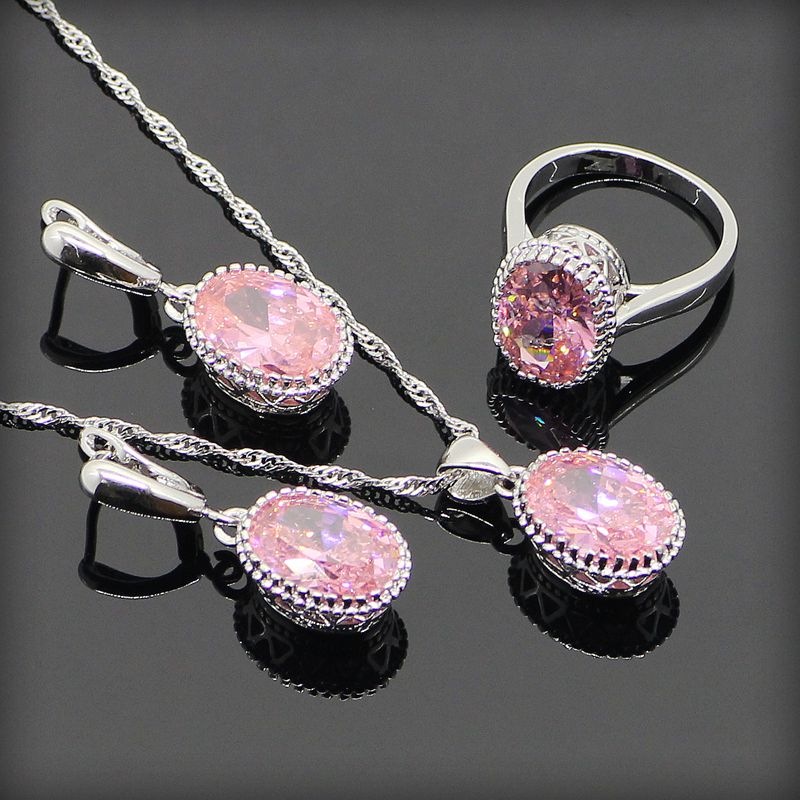 Beautiful Princess Pink Topaz Women 925 Sterling Silver Jewelry Sets Silver Earrings/Pendant/Necklace/Rings Free Gift Box(China (Mainland))