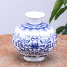 Vintage Chinese Wind Home Decoration Ceramic Vase Blue and White Porcelain Flower Receptacle(China (Mainland))