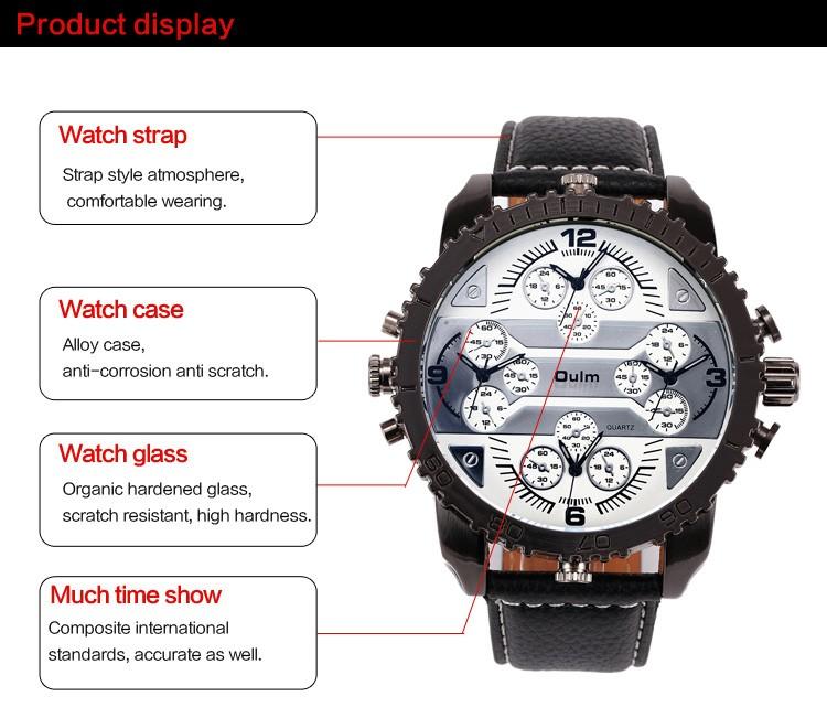 Человек смотреть Мода 4 часовой пояс кожаный ремешок часы OULM 3233 марка роскошные наручные часы человек